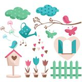 Spring elements with trendy colors. Illustration Royalty Free Stock Image