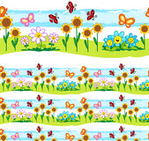 Spring elements vector seamless line Royalty Free Stock Image