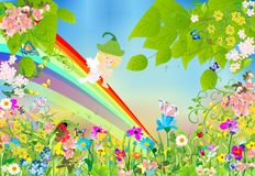 Spring elf on a rainbow Stock Images