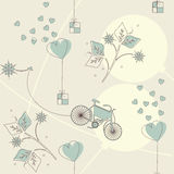 Spring endless pattern with gifts, balloons, bike and flowers Stock Photos