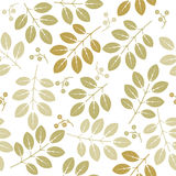 Spring endless pattern with green flowers and leaves Royalty Free Stock Image