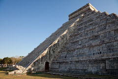 Spring Equinox at Chichen Itza Kukulcan Temple. The feathered serpent god of the Mayans, crawls down the pyramid El Castillo during spring equinox stock photography