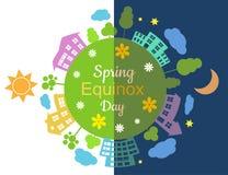 Spring equinox half day half night. Vector illustration royalty free illustration