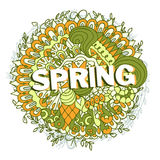 Spring ethnic floral design with doodle elements Stock Image