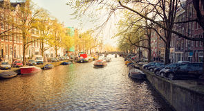 Spring evening in amsterdam Royalty Free Stock Photos