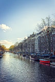 Spring evening in amsterdam Stock Images