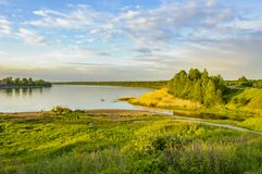 Spring evening on the banks of the river Neva. Stock Photography