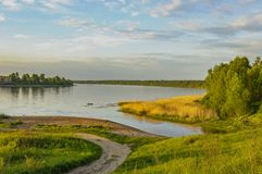 Spring evening on the banks of the river Neva. Royalty Free Stock Images