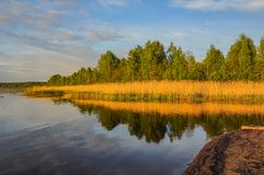 Spring evening on the banks of the river Neva. Stock Photo