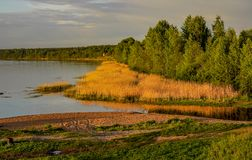 Spring evening on the banks of the river Neva. Royalty Free Stock Photo