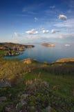 Spring evening landscape surrounding area of Nakhodka Bay. Stock Photo