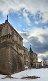 Spring evening Pidhirtsi Castle view (Ukraine) Royalty Free Stock Photo