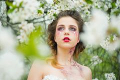 Spring everywhere. Natural beauty and spa therapy. Springtime. weather forecast. face and skincare. womens health. Allergy to flowers. Woman with spring royalty free stock photography