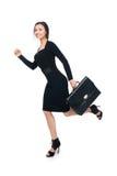 Spring för affärskvinna med portföljen Fotografering för Bildbyråer