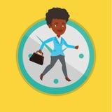 Spring för affärskvinna på klockabakgrund royaltyfri illustrationer
