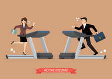 Spring för affärsman och kvinnapå en trampkvarn Arkivfoton