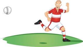 Spring för fotbollspelare för bollen royaltyfri illustrationer