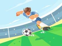 Spring för fotbollspelare med bollen Royaltyfri Fotografi