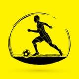 Spring för fotbollspelare med vektorn för diagram för fotbollboll Royaltyfri Fotografi
