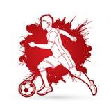 Spring för fotbollspelare med vektorn för diagram för fotbollboll Royaltyfria Bilder