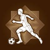 Spring för fotbollspelare med vektorn för diagram för fotbollboll Royaltyfri Foto