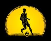 Spring för fotbollspelare med vektorn för diagram för fotbollboll Arkivfoto