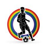 Spring för fotbollspelare med vektorn för diagram för fotbollboll Arkivfoton
