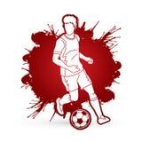 Spring för fotbollspelare med vektorn för diagram för handling för fotbollboll Royaltyfri Foto
