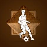 Spring för fotbollspelare med vektorn för diagram för handling för fotbollboll Royaltyfri Bild