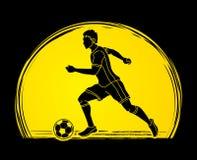Spring för fotbollspelare med vektorn för diagram för handling för fotbollboll Royaltyfria Bilder