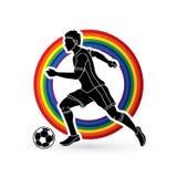 Spring för fotbollspelare med vektorn för diagram för handling för fotbollboll Royaltyfri Fotografi