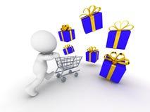 spring för grabb 3D med shoppingvagnen till och med bunten av slågna in gåvor Royaltyfri Bild