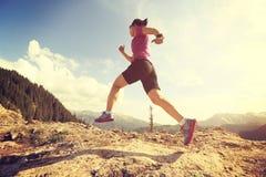 spring för kvinnaslingalöpare på härligt bergmaximum Royaltyfri Fotografi