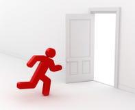 spring för man 3d till den öppnade vita dörren stock illustrationer