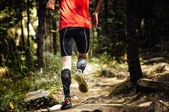Spring för maratonlöpare på stenar i skog Fotografering för Bildbyråer