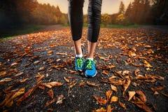 Spring för ung kvinna i höstsidorna för tidig afton Arkivbilder