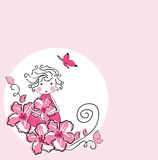 Spring fairy. Vector illustration of girl in flowers Stock Images