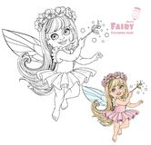 Spring fairy girl with magic wand color and outlined Royalty Free Stock Images