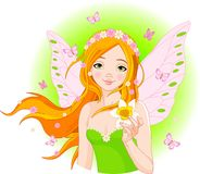 Spring fairy with narcissus Stock Images