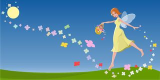 Spring Fairy Nymph. Illustration of a fairy heralding the Spring season by shwoering theland with flowers from her basket. 6000x3000 pixels Stock Photos