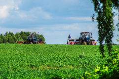 Spring farm work on the Russian fields in the Kaluga region. Stock Image