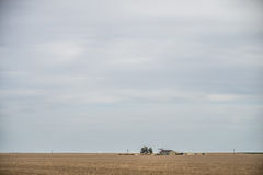 Spring farmland before on a cloudy day Royalty Free Stock Photos