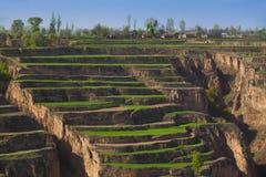 Spring farmland gansu china Stock Photo