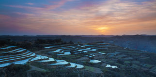 Spring farmland gansu china sunset Stock Photo