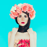 Spring fashion lady with floral wreath Stock Images