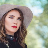 Spring Fashion Portrait of Cute Woman Model wearing Hat Stock Photography