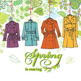 Spring  Fashion .Woman coats set.Leaves decor Royalty Free Stock Photography