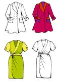 Spring fashions, sunny dress and light jacket. Comes with bonus black outline versions vector illustration