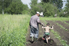In the spring of father and son plowing the ground in the garden Royalty Free Stock Photos