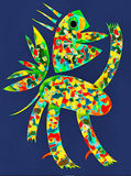 SPRING FEAVER. Abstract cut out collage of imaginary bird in vivid colors on blue background.Concept of fun, joy and friendship Stock Photos